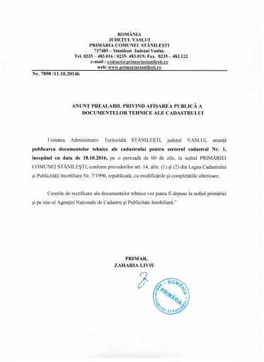 Anunt prealabil privind afisarea publica a documentelor tehnice ale cadastrului